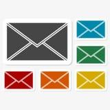 Multicolored paper stickers - mail. Vector icon Stock Photo