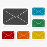 Multicolored paper stickers - mail. Vector icon Royalty Free Stock Image