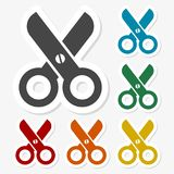 Multicolored paper stickers - Scissors icon. Icon Royalty Free Stock Photography