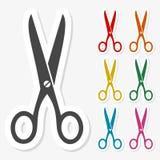 Multicolored paper stickers - Scissors icon. Vector icon Royalty Free Stock Photo