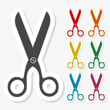 Multicolored paper stickers - Scissors icon. Vector icon Royalty Free Stock Photography