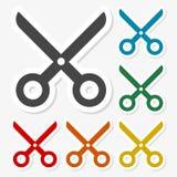 Multicolored paper stickers - Scissors icon. Vector icon Royalty Free Stock Image
