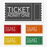 Multicolored paper stickers - The ticket icon, Ticket symbol. Vector icon Royalty Free Stock Photo