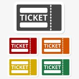 Multicolored paper stickers - The ticket icon, Ticket symbol. Vector icon Stock Photo