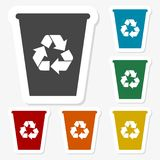 Multicolored paper stickers - Trash bin. Vector icon Stock Images