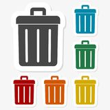 Multicolored paper stickers - Trash bin. Vector icon Stock Photo
