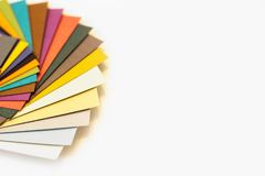 Multicolored paper swatch palette. Catalog paper for printing royalty free stock image