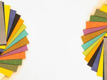 Multicolored paper swatch palette. Catalog paper for printing royalty free stock photos