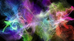 Multicolored particle streams. Two colorful iridescent particle streams spread on black background, 3D animation stock video