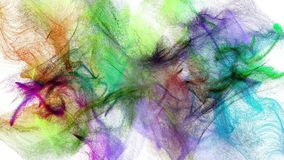 Multicolored particle streams. Two colorful iridescent particle streams spread on white background, 3D animation stock footage