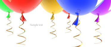 Multicolored party balloons isolated. On white background 3d illustration. high resolution Royalty Free Stock Photos
