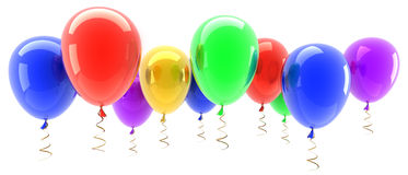 Multicolored party balloons isolated. On white background 3d illustration. high resolution Royalty Free Stock Images
