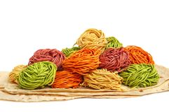Multicolored pasta Stock Images