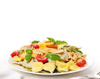 Multicolored pasta on light background Stock Photo