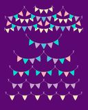 Multicolored pastel buntings garlands isolated on violet background. Vector set in flat style. Design elements for decoration. Of greetings cards, invitations Stock Photography