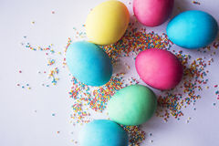 Multicolored pastel sprinkles background. Colorful little candies. Easter,  Background, texture for easter, copy space. Beautiful Stock Photography