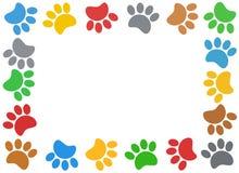 Multicolored paw print animal frame. Royalty Free Stock Photos
