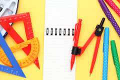 Multicolored pen, rulers and notebook Stock Images