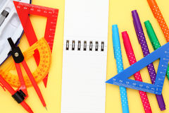 Multicolored pen, rulers and notebook Royalty Free Stock Image