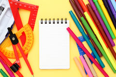 Multicolored pen, rulers and notebook Royalty Free Stock Photography