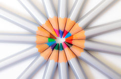 Multicolored Pencil, Arrangement in Circle Royalty Free Stock Images