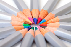Multicolored Pencil, Arrangement in Circle Stock Images