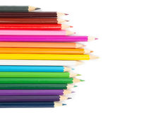 Multicolored pencils. Isolated on the white Stock Images