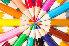 Multicolored pencils. Colored pencils isolated on white background Stock Photos