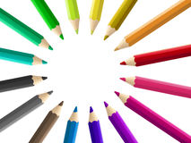 Multicolored pencils arranged circle isolated Royalty Free Stock Photo