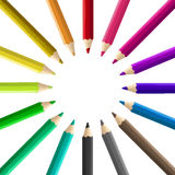 Multicolored pencils arranged circle isolated Stock Photos