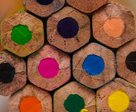 Multicolored pencils background Stock Images