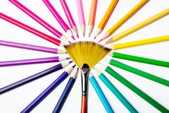 Multicolored pencils, brush for drawing. Pencils of different colors for drawing Stock Photography