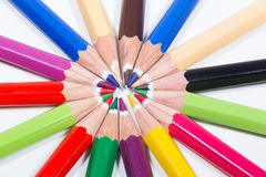 Multicolored pencils in circle Royalty Free Stock Photos