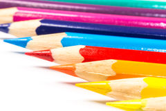 Multicolored pencils close-up Stock Images