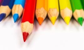 Multicolored pencils close-up Stock Photos