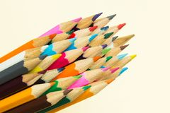 Multicolored pencils in a group stock photo