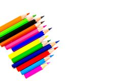 Multicolored pencils isolated on white background. Colored pencils isolated on white background stock image