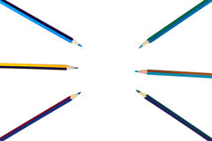 Multicolored pencils isolated on white background Stock Photos