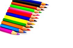 Multicolored pencils. Multicolored pencils isolated on white background. School supplies Royalty Free Stock Images