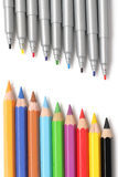 Multicolored pencils and markers Stock Images