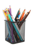 Multicolored pencils in metal cup isolated Stock Image