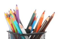Multicolored pencils in metal cup isolated Stock Photography