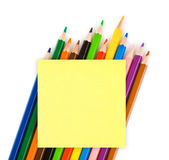 Multicolored pencils and paper Royalty Free Stock Photo