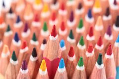Multicolored pencils placed in group Stock Photography