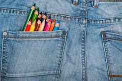Multicolored pencils in pocket Stock Images