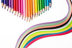 Multicolored pencils, rainbow of paper. Pencils of different colors for drawing Stock Photo
