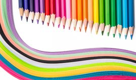 Multicolored pencils, rainbow of paper. Pencils of different colors for drawing Royalty Free Stock Photo