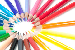 Multicolored pencils, round shape Royalty Free Stock Photo