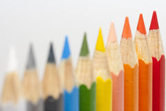 Multicolored pencils in a row Stock Image