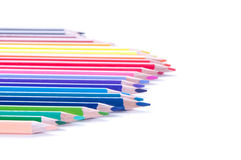 Multicolored pencils in row Royalty Free Stock Images
